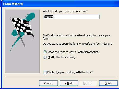 Image result for form wizard in ms access 2003