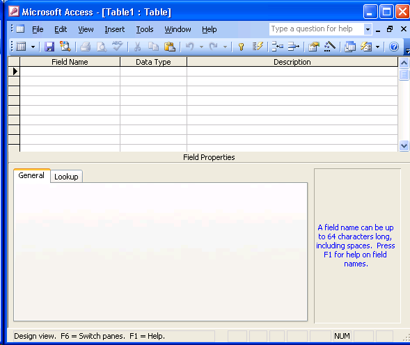 Lmc csc 151 microsoft access 2003 reference for Table design view access